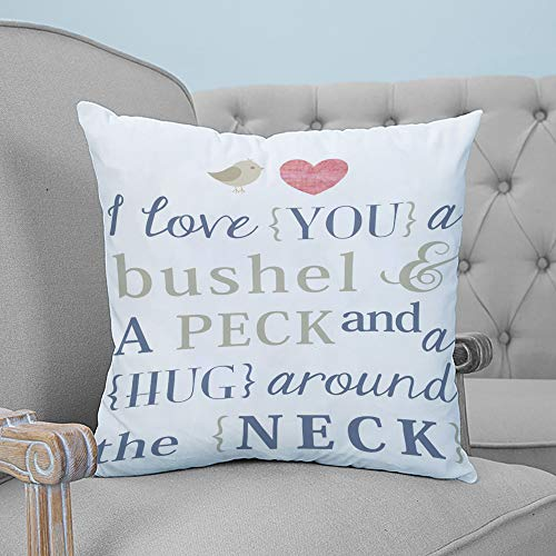 ARTSHOWING Pillow Covers Love 24x24 inches Canvas Couch Throw Pillows Zippered Square Pillow Case for Home Bedroom Living Room Cushion Cover i Love You a Bushel and a Peck