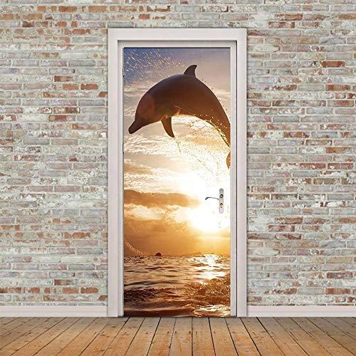 MZNVTD Etiqueta De La Puerta 3D Pegatinas De Pared Delfines Saltadores De Mar 90X205Cm Impermeable Removable Vinilos Carteles Murales para Dormitorio Cuarto De Niños Arte Moderno Decoraciones