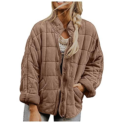 YESMAN Abrigo corto de invierno para mujer, de gran tamao, de piel de peluche, parka de invierno, ms grueso, clido, abrigo, cuello alto, con cremallera, casual, chaqueta de transicin, marrn, XL