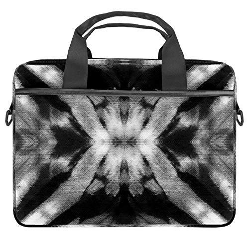 Laptoptasche aus Baumwolle mit Leinen-Muster, Aktentasche für 34 - 36,8 cm (13,3 - 14,5 Zoll) Apple MacBook Laptop Aktentasche Schwarz auf Weiß