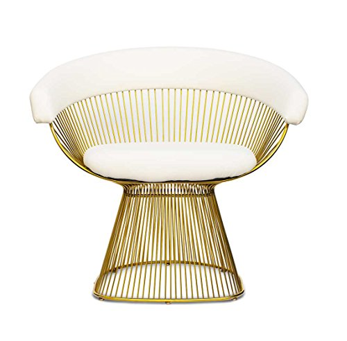 NEUERRAUM Extraordinario sillón de acero inoxidable chapado en oro con cuero blanco (auténtico).