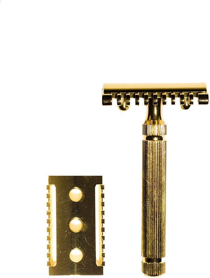 Golden Shave - Cuchilla de Afeitar Hecha a Mano en Italia - Doble Cabezal, preciso Afeitado y Acabado