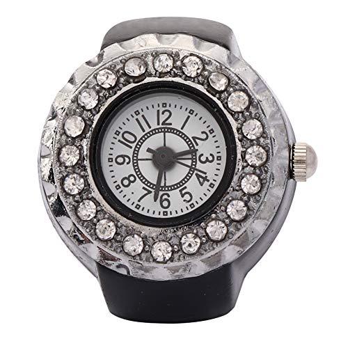 【𝐍𝐞𝒘 𝐘𝐞𝐚𝐫 𝐆𝐢𝐟𝐭】 Reloj de Anillo Brillante, Reloj de Anillo de Cuarzo con Dedo de Diamantes de imitación de Moda Informal, Chicas Hermosas de aleación para Mujeres(Black)