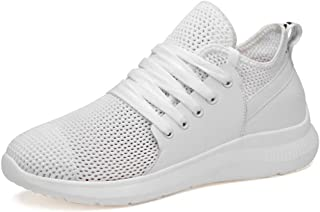 ZUAN Gymnastic Shoes for Men Knit Sports Shoes Lace Up Style Mesh Cloth and Splicing OX Leather Breathable Bout Toe