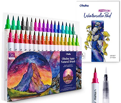 Professional Watercolor Brush Markers Pens Set, Ohuhu 36 Colors Water-based Paint Marker with 12-Sheet Watercolor Pad & A Blending Aqua Brush, Nylon Brush Tip for Coloring Calligraphy Drawing