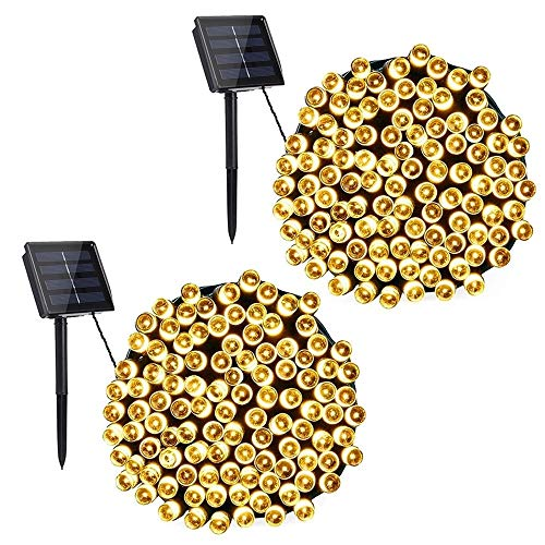 Solar Christmas Lights, 2 Packs 72ft 200 LED Solar String Lights with 8 Modes, Waterproof Outdoor Christmas String Lights for Patio, Garden, Party, Holiday, Christmas Decorations (Warm White)
