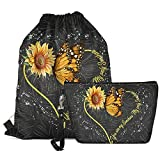 Goyentu Sunflower Butterfly Drawstring Backpack Bag Party Favors Tote String Cinch Sack Cute Set 2-PCS with Makeup Bag Cosmetic Pouch for Women Youth Girls for Purse Clutch Travel Toiletry Pouch