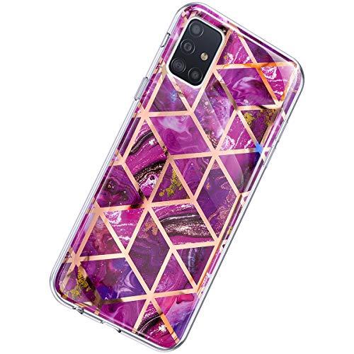 Herbests Kompatibel mit Samsung Galaxy A51 Hülle Marmor Muster Glänzend Glitzer Bling Weich Silikon Hülle Kratzfest Schutzhülle Tasche Crystal Case Durchsichtig Dünn Handyhülle,Marmor Lila