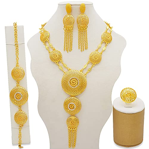 TCross Conjuntos de joyería de Moda, Dubai Gold Indian Indian Etiopía Bridal Regalos de Boda para Mujer Collar Pulsera Pendientes Set (Metal Color : BJ843)