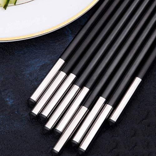 Palillos De Fibra De Vidrio Lavavajillas Reutilizables Caja Fuerte, Palillos De Aleación De 10 Pares, Palitos Antideslizantes Para Chop Multipack Palillos Negros Con Silver
