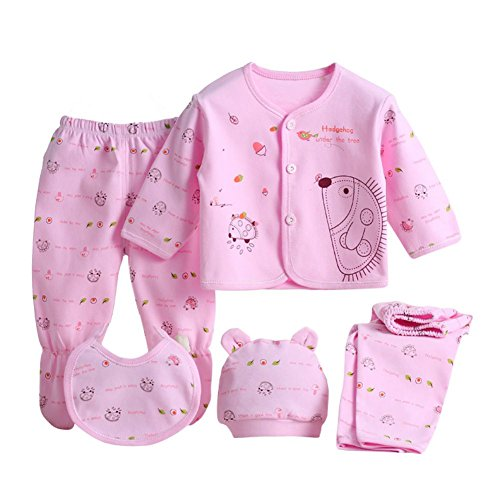 Brightup 5 Neugeborenes Baby Baumwollt Shirt + Hosen + Hut Jungen Mädchen Satz