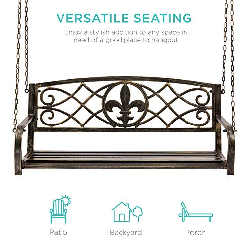 Best Choice Products 2-Person Metal Outdoor Porch Swing, Hanging Patio Bench w/Weather-Resistant Steel, 485lb Weight Capacity - Bronze