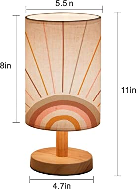 Minimalist Bedside Table Lamp Boho Magic Rainbow Sun and Rays Background Trendy Abstract Geometric Solid Wood Nightstand Lamp