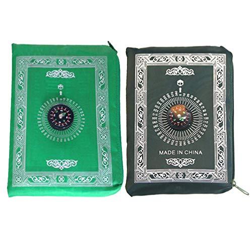 EXCEART Muslimische Gebetsteppiche Verehren Pilgerdecken Kompass Bedruckter Qibla-Teppich 60X100cm 2 Stück (Zufällige Farbe)
