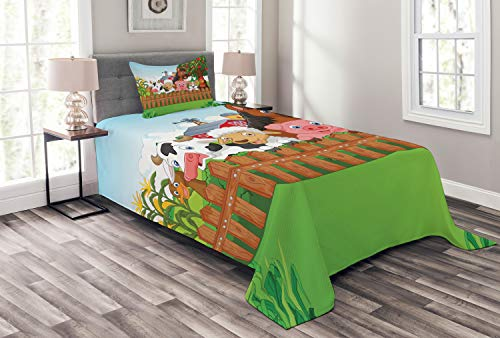 Ambesonne Cartoon Bedspread, Composition Farm Animals on Fence Comic Mascots Dog Cow Horse Kids Design, Decorative Quilted 2 Piece Coverlet Set with Pillow Sham, Twin Size, Green Brown