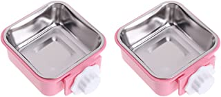 Yucong 2Pcs/set 2 IN 1 Stainless Steel Pet Hanging Bowl Removable Dog Bowl for Crates Puppy Food Feeder Water Dish with Bolt Holder Dog (Large-Square, Pink)