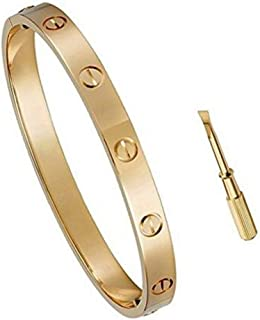 Women's Fashion Mosaic Crystal Love Bracelet - Screws Designs Titanium Steel Bracelets - Gift Box Packaging