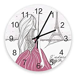 12-Inch Indoor Silent Non-Ticking Wall Clock Paris Eiffel Tower Girl with Skirt Battery Operated Home Decor Wall Clock for Living Room/Kitchen/Office