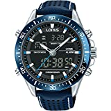 LORUS- DUAL TIME GENTS BLUE STRAP WATCH WITH WHITE STITCHING