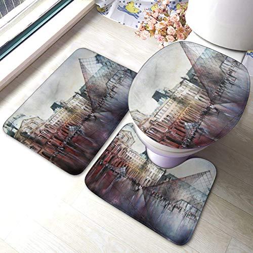 Odelia Palmer Alfombrillas de baño 3 Piezas Le Louvre Paris Acuarelas Antideslizantes Alfombras de baño Alfombra de Contorno en Forma de U Alfombrilla para Tapa de Inodoro