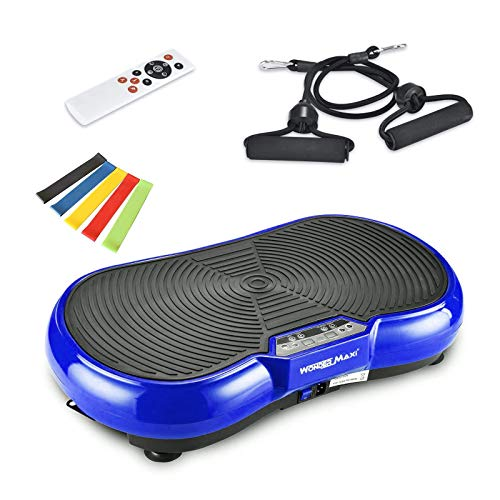 Vibration Platform Exercise Machine, Whole Body Vibration Fitness Plate with Remote Control and Resistance Bands for Weight Loss Toning (Blue)