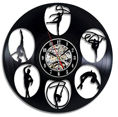 GenericBrands Disco de Vinilo Reloj de Pared Danza Yoga CD Retro de Vinilo artístico Colgante Hecho a Mano clásico Diseño Decoración del hogar Regalos 12 Pulgadas - con luz LED