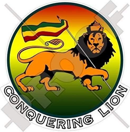 Conquête Jamaïque Rasta Lion Éthiopie 109,2 cm (110 mm) en vinyle Bumper Sticker, autocollant