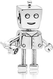 2172f7b6d DH Love fit Pandora Charms Bracelet Rob Bella Bot Robot Charm,925 Sterling  Silver