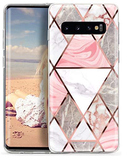 CIUTEK Coque Samsung Galaxy S10 Marbre Brillante Or Rose,Coque Marbre pour Complète de Protection Antichoc Bumper Cover en TPU Souple pour Samsung Galaxy S10 6.1 Pouces(2019)-Rose Gris Blanc