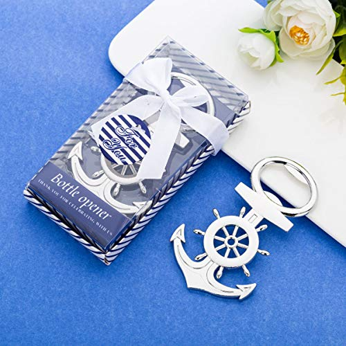 16Pcs Nautical Themed Anchor & Wheel Beer Bottle Opener Party Favors for Guests Boxed Souvenir Gift Favor for Nautical Beach Wedding Baby Bridal Shower Birthday Party