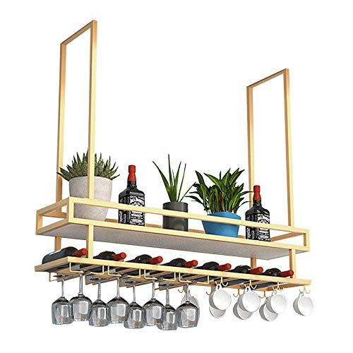 Estante para Vino De Techo De Estilo Europeo, Estante para Vino, Estante para Copas De Vino, Soporte para Vasos, para Bares, Restaurantes, Cocinas, 3 Tamaños/Dorado (Size : 120 * 30 * 80cm)