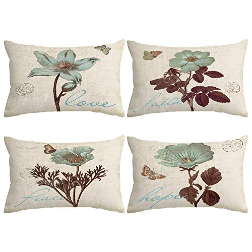 """Monkeysell Pack of 4 Lumbar Pillow Cover Leaf Butterfly Flowers Pattern Cotton Linen Throw Pillow Case Boho Floral Printed Pillow Cushion Cover Home Sofa Decorative (12""""x20"""")"""