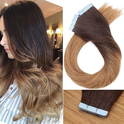 Extension Biadesive Capelli Veri Riutilizzabili- 45cm 100g 40 ciocche #4T27 Marrone Cioccolato Ombre Biondo Scuro - 100% Remy Hair Lisci