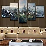 KOPASD Art Impresión Lienzo,Tamaño Grande, Halcón Milenario de la Ciudad de Star Wars -200x100cm Diseño Profesiona/5pcs(Sin Marco)