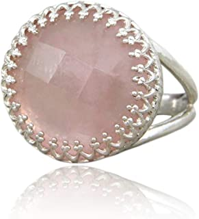 Feminine Ring by Anemone Jewelry - 16CT Lovely Rose Quartz Ring in Sterling Silver - Classy 925 Sterling Silver Rings for Women [Handmade by Artisan] - Sizes 3 to 12.5 [Free Gift Box]