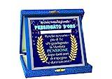 TARGA Premio PENSIONATO D'ORO Gadget idea regalo festa neo Pensionato