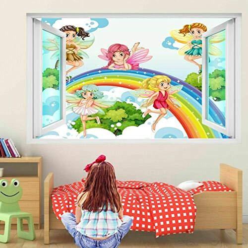 Pegatinas de pared Hadas arcoíris fantasía arte de pared pegatinas Mural calcomanía niños dormitorio guardería póster papel tapiz- 50×70cm