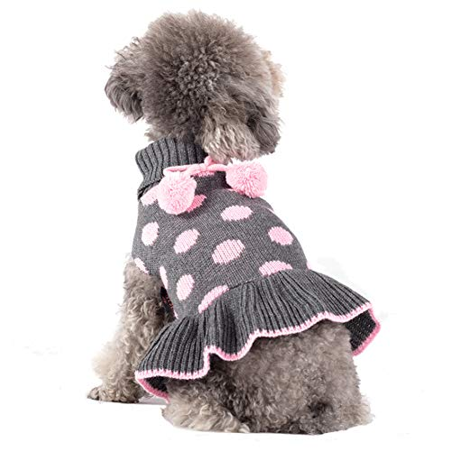 kyeese Dog Sweaters Small Turtleneck Dog Sweater Dress Polka Dot Knit Warm Dog Clothes with Pom Pom Ball