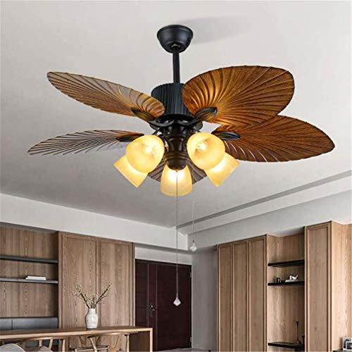 Luces de ventilador de 52 pulgadas, luz de techo retro europea, estilo industrial de madera araña de hoja de madera, lámpara de sala de estar, lámpara de comedor, control remoto, luces decorativas wan