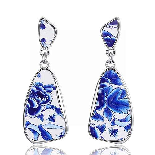 ZRDMN Pendientes de porcelana azul y blanca de imitación retro europea y americana. Pendientes de botón de joyería de moda para mujer. Colgante para mujer niña B.