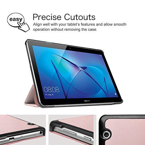 Fintie Huawei Mediapad T3 10 Hülle Case - Ultra Dünn Superleicht Flip Schutzhülle mit Zwei Einstellbarem Standfunktion für Huawei MediaPad T3 (9,6 Zoll) 24,3 cm Tablet-PC, Roségold - 5