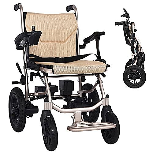 Lightweight Mobility Electric Power Wheelchair, Compact Mobility Aid Wheel Chair, Supports 220 Lbs, Portable Folding for Old Elderly Disabled Aged