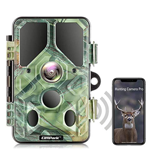 Campark WLAN Wildkamera 20MP 1296P, WiFi Bluetooth No Glow Night Vision 940nm Wildtierkamera mit Nachtsicht Wildlife Jagdkamera, Überwachungswinkel Bewegungserkennung IP66 Wasserdicht
