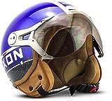 Soxon SP-325-PLUS Motocicleta Casco Demi-Jet, ECE Certificado incluyendo Parasol, Bolsa de Casco, L (59-60cm), Azul