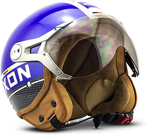 "SOXON® SP-325 Plus ""Blue"" · Jet-Helm · Motorrad-Helm Roller-Helm Scooter-Helm Moped Mofa-Helm Chopper Retro Vespa Vintage Pilot Biker Helmet · ECE 22.05 Visier Schnellverschluss Tasche L (59-60cm)"