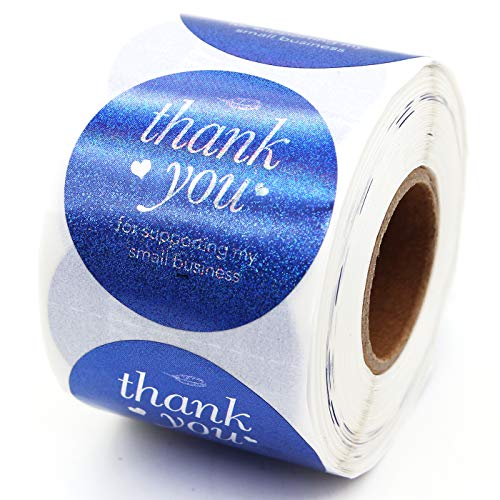 Muminglong Thank You for Supporting My Small Business Round Stickers, Thank You Sticker, Small Shop Sticker, Small Business, Packaging Sticker, Real Gold 500PCS, 1.5 inch, (Blue)