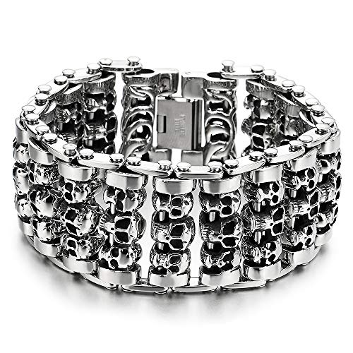 COOLSTEELANDBEYOND Heavy and Study Mens Steel Large Link Chain Motorcycle Bike Chain Bracelet with Skulls Polished