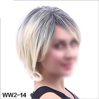 BOBIDYEE 女性のボブショートかつら黒グラデーションホワイトカラー耐熱レジストパーティーヘアウィッグパーティーウィッグ (色 : ベージュ, サイズ : 35cm)