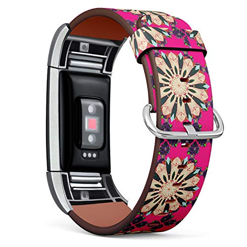 Compatible with Fitbit Charge 2 - Replacement Leather Wristband Watch Band Strap Bracelet for Men and Women - Baby Shower Menu Flyer Banner