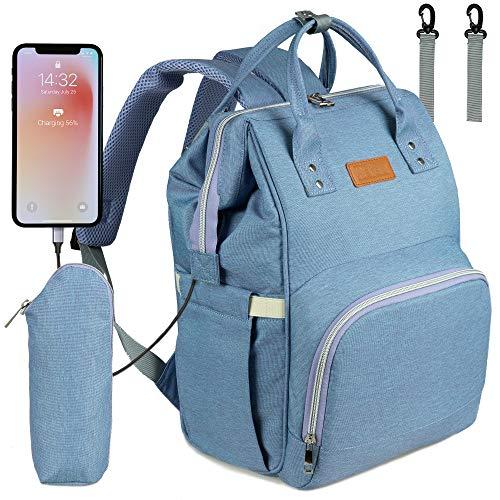 NEVEQ Baby Wickelrucksack, Babytasche für Reise, Wickeltasche Große Kapazität, Multifach Reise Rucksack Wasserdicht Fächer Babyflaschehälter (Lila)